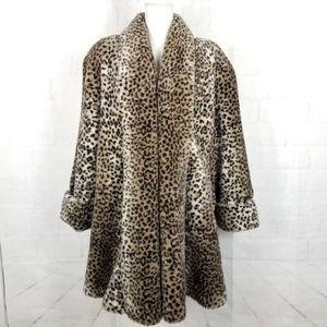 Cheetah  Faux Fur Coat Midi XL